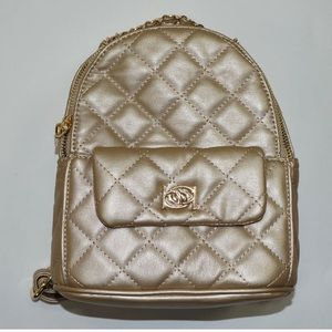 Bebe gold quilted Erica mini backpack